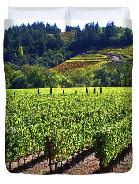 Vineyards In Sonoma County Duvet Cover by Charlene Mitchell