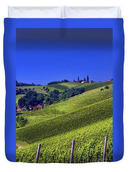 Duvet Cover featuring the photograph Vineyards Of Jerusalem Slovenia by Graham Hawcroft pixsellpix