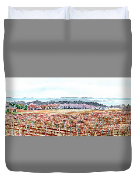 Vineyards Of Mission Peninsula Duvet Cover