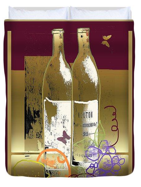 Vin, Fruit, Et Papillons Duvet Cover