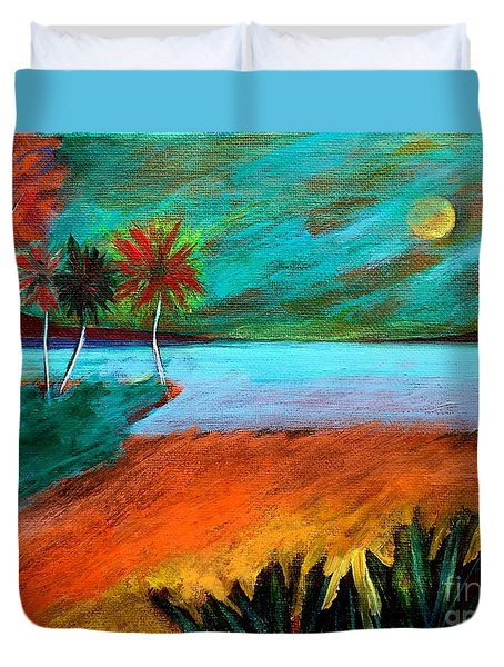 Duvet Cover featuring the painting Vinoy Park Twilight by Elizabeth Fontaine-Barr
