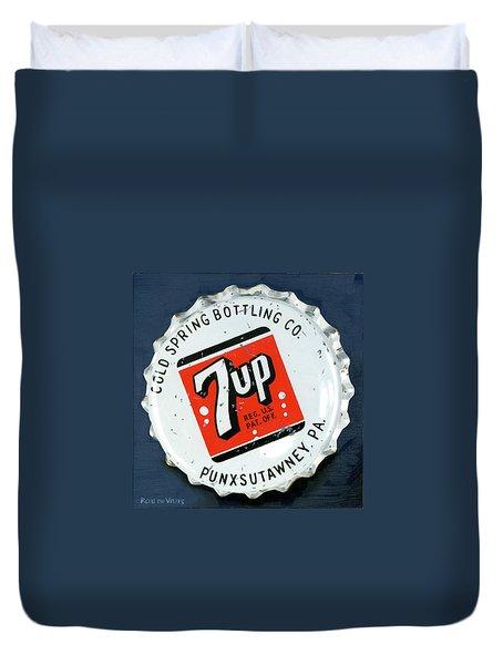 Vintag Bottle Cap, 7up Duvet Cover by Rob De Vries