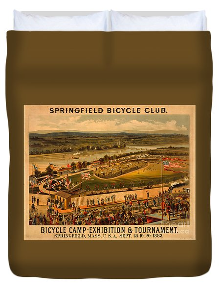 Vintage 1883 Springfield Bicycle Club Poster Duvet Cover by John Stephens