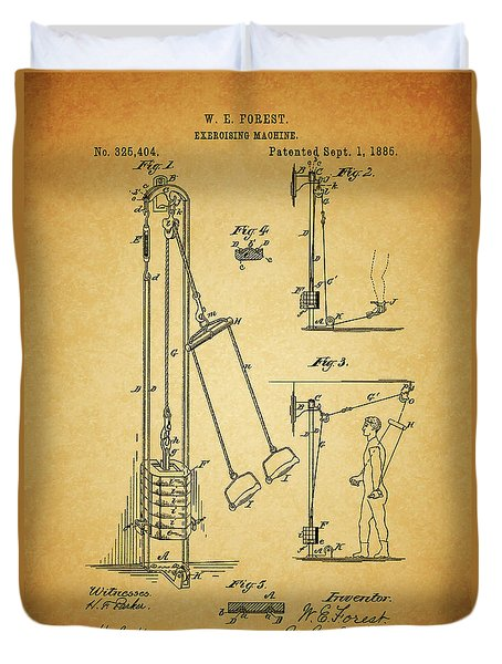 Vintage 1885 Exercising Device Patent Duvet Cover by Dan Sproul