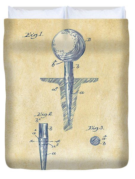 Duvet Cover featuring the digital art Vintage 1899 Golf Tee Patent Artwork by Nikki Marie Smith