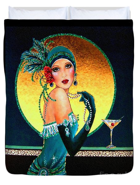Vintage 1920s Fashion Girl  Duvet Cover