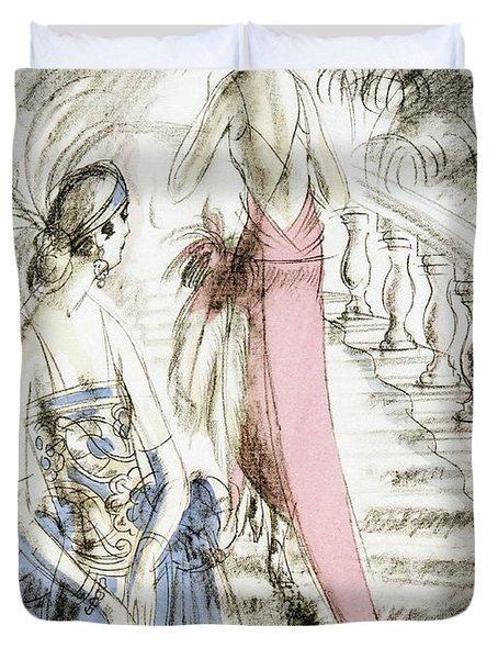 Vintage 1920s Fashion Plate  Evening Dresses Duvet Cover