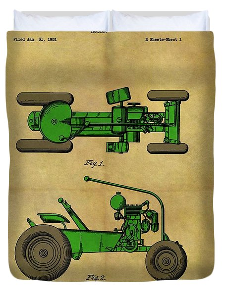 Vintage 1953 Green Tractor Patent Duvet Cover