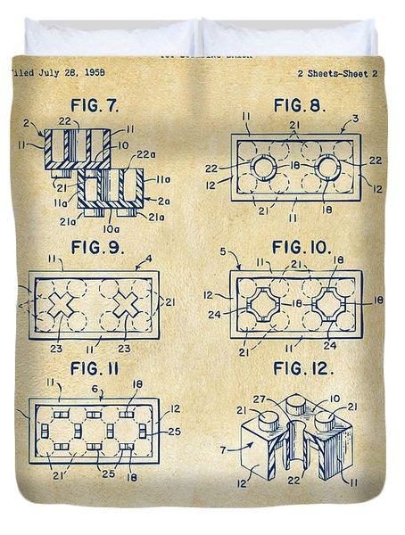 Vintage 1961 Lego Brick Patent Art Duvet Cover by Nikki Marie Smith