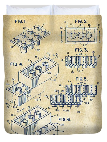 Duvet Cover featuring the drawing Vintage 1961 Toy Building Brick Patent Art by Nikki Marie Smith