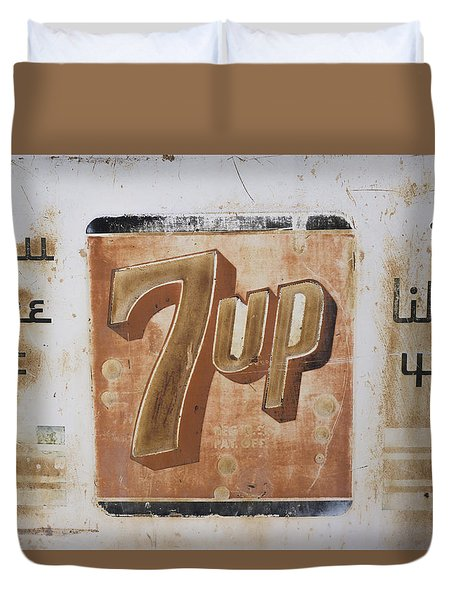 Duvet Cover featuring the photograph Vintage 7 Up Sign by Christina Lihani