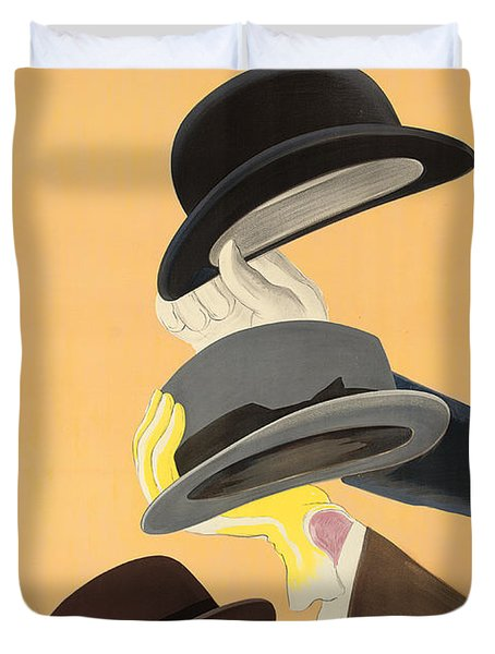 Vintage Advertising Poster For Mossant Hats Duvet Cover