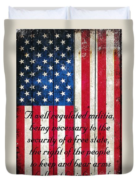 Vintage American Flag And 2nd Amendment On Old Wood Planks Duvet Cover