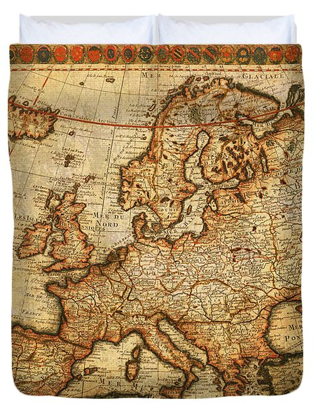 Vintage Antique Map Of Europe French Origin Circa 1700 On Worn Distressed Parchment Canvas Duvet Cover