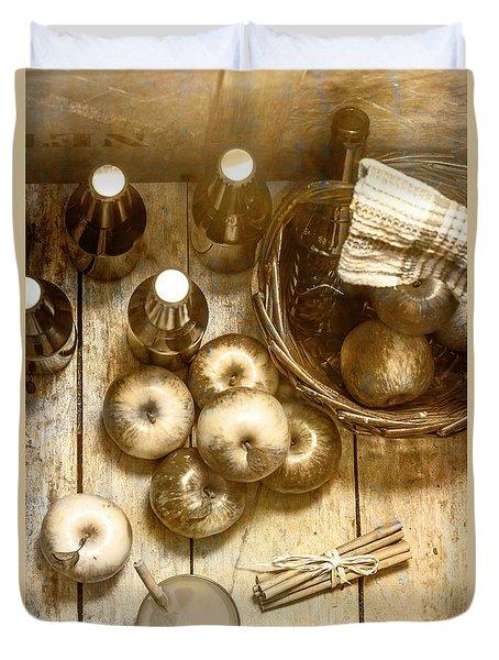 Vintage Apple Cider On Wood Crate Duvet Cover