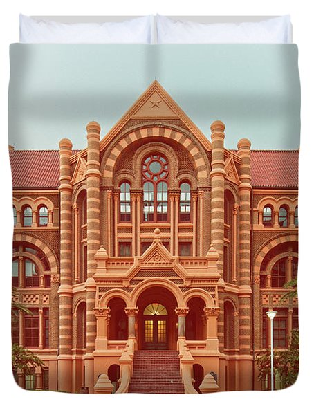 Vintage Architectural Photograph Of Ashbel Smith Old Red Building At Utmb - Downtown Galveston Texas Duvet Cover
