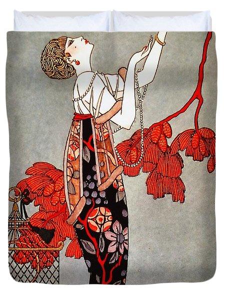 Vintage Art Deco Fashion Duvet Cover