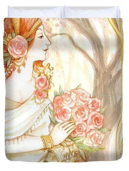 Vintage Art Nouveau Flower Lady Duvet Cover