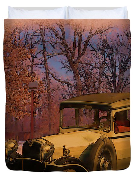 Vintage Auto In Winter Duvet Cover
