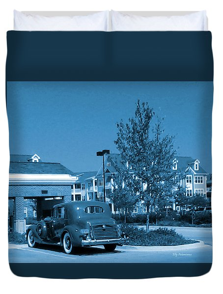 Duvet Cover featuring the pyrography Vintage Automobile by Elly Potamianos