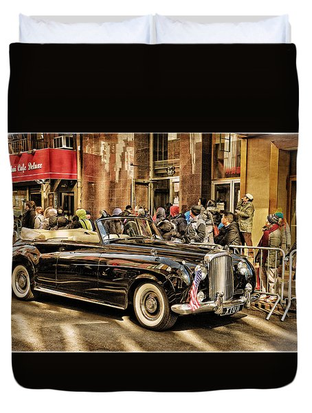 Vintage Bentley Convertible Duvet Cover by Mike Martin
