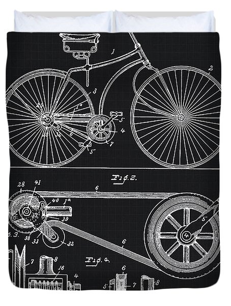 Vintage Bicycle Patent Illustration 1890 Duvet Cover