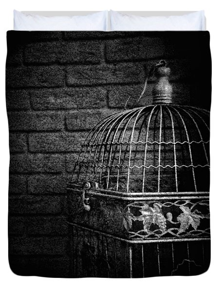 Duvet Cover featuring the photograph Vintage Bird Cage by Andrey  Godyaykin