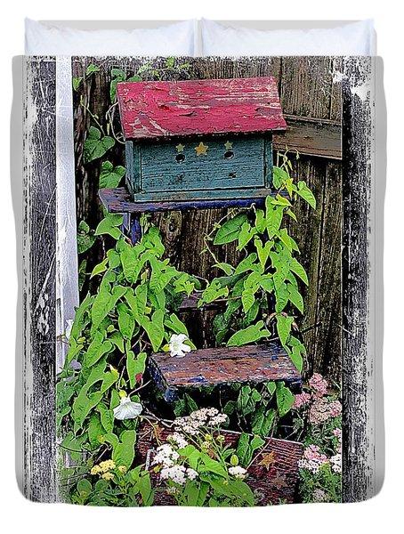 Vintage Bird House Duvet Cover