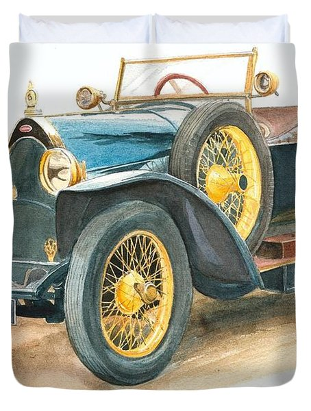 Vintage Blue Bugatti Classic Car Duvet Cover