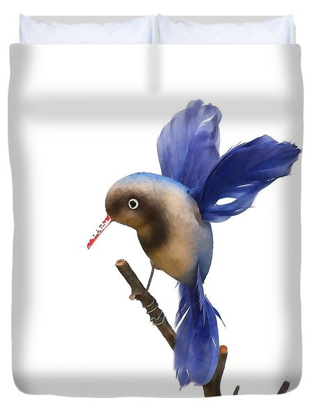 Duvet Cover featuring the photograph Vintage Blue Hummingbird by Art Block Collections