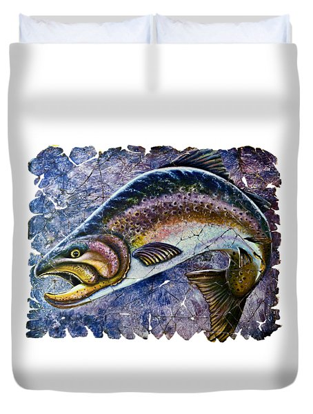 Vintage Blue Trout Fresco  Duvet Cover