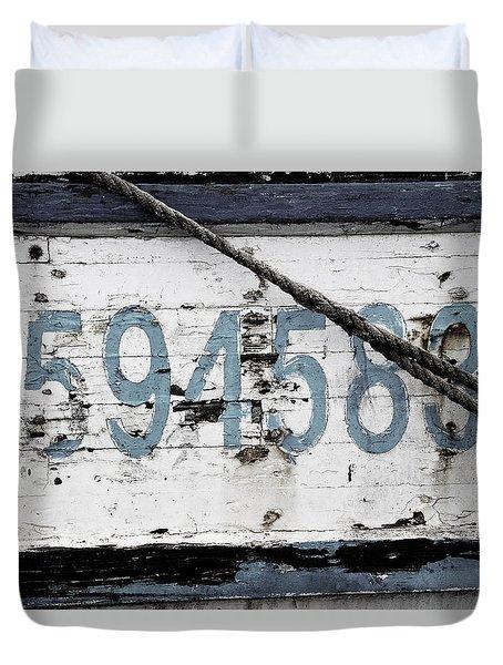 Vintage Boat Number Duvet Cover by Toni Hopper