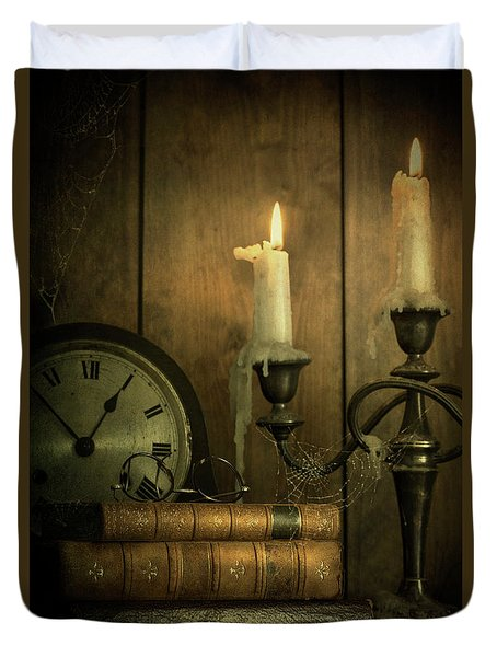 Vintage Books With Candles And An Old Clock Duvet Cover