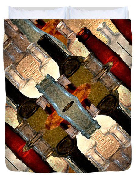 Vintage Bottles Abstract Duvet Cover