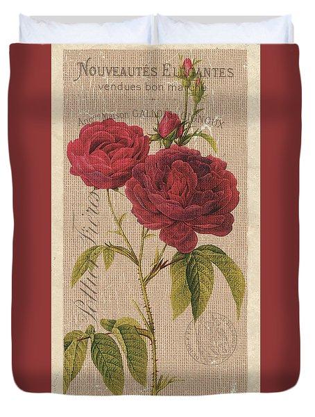 Vintage Burlap Floral 3 Duvet Cover