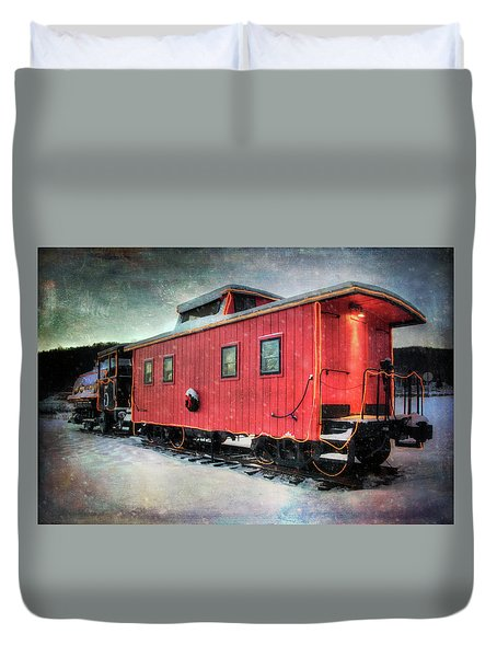 Duvet Cover featuring the photograph Vintage Caboose - Winter Train by Joann Vitali