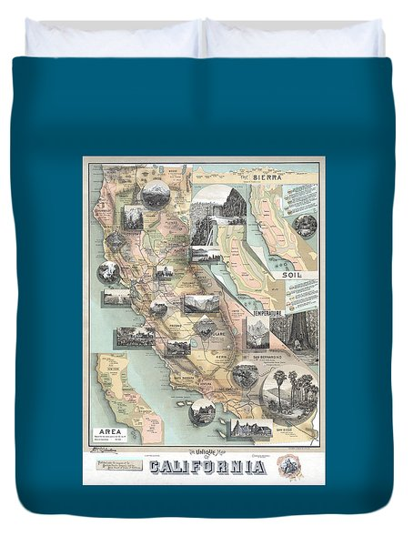 Vintage California Map Duvet Cover