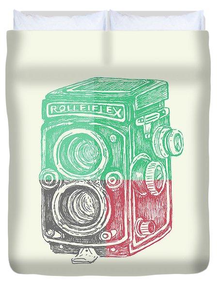 Vintage Camera Color Duvet Cover