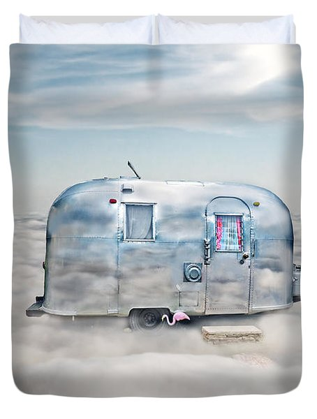Vintage Camping Trailer In The Clouds Duvet Cover