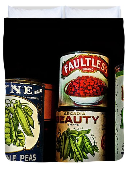 Vintage Canned Vegetables Duvet Cover