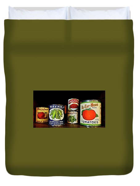 Duvet Cover featuring the photograph Vintage Canned Vegetables by Joan Reese