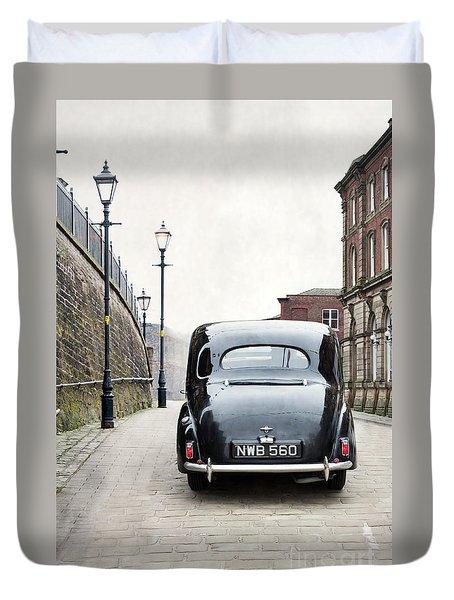 Vintage Car On A Cobbled Street Duvet Cover by Lee Avison