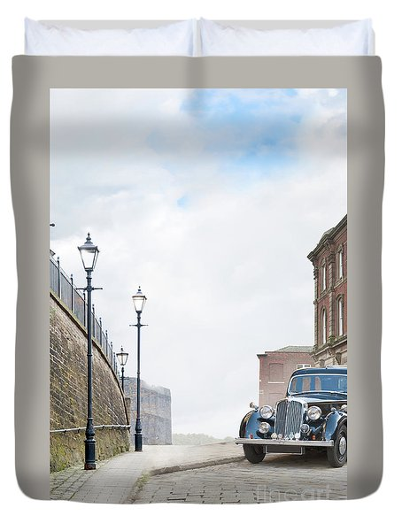 Vintage Car Parked On The Street Duvet Cover by Lee Avison