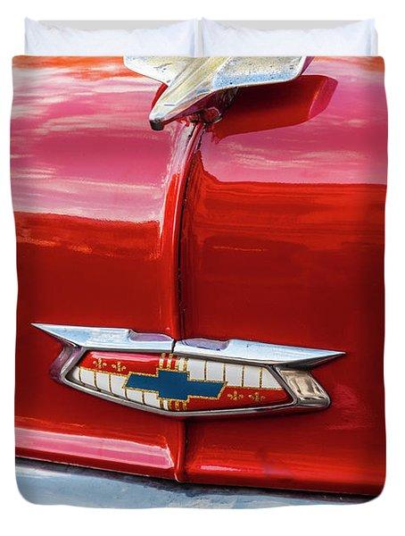 Vintage Chevy Hood Ornament Havana Cuba Duvet Cover by Charles Harden