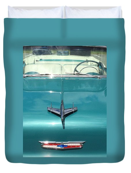 Duvet Cover featuring the photograph Vintage Chevy by Robin Regan