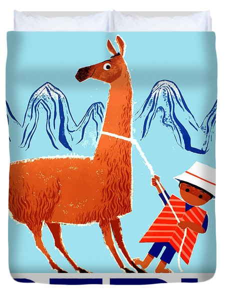 Vintage Child And Llama Peru Travel Poster Duvet Cover