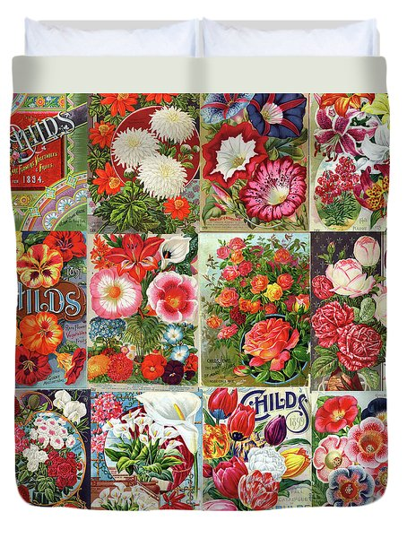 Vintage Childs Nursery Flower Seed Packets Mosaic  Duvet Cover