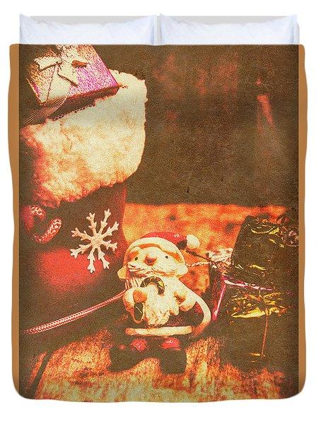 Vintage Christmas Art Duvet Cover