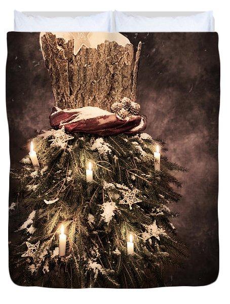 Vintage Christmas Card Duvet Cover