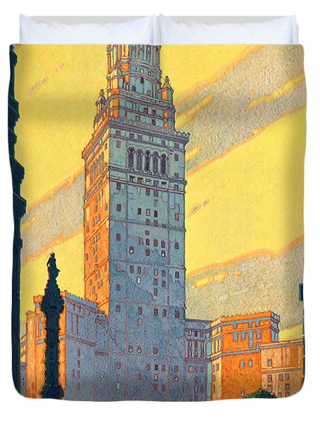 Vintage Cleveland Travel Poster Duvet Cover by George Pedro